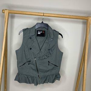 Ruffled Grunge Army Green Vest